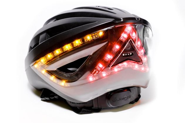 Lumos helmet with brake lights and turn signals close to ...