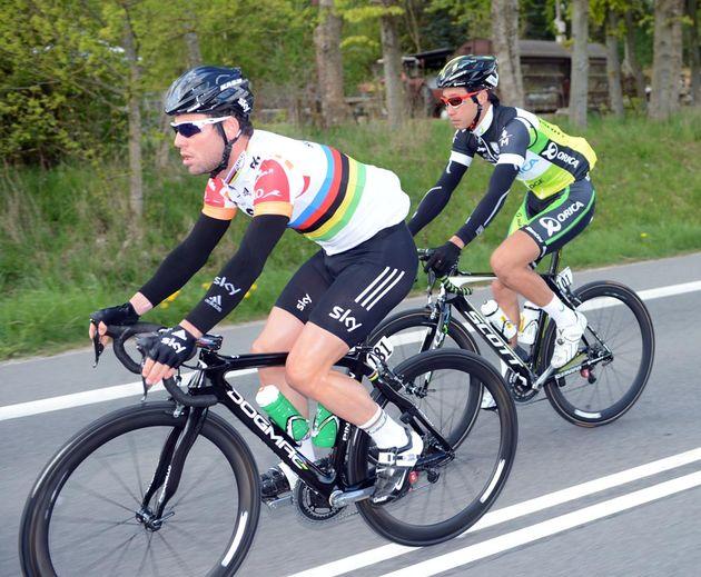 Mark Cavendish and Fumi Beppu, Giro d'Italia 2012, stage three