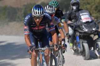 Mathieu van der Poel (Alpecin-Fenix) attempts to chase back to the front of the race after suffering a puncture at the 2020 Strade Bianche