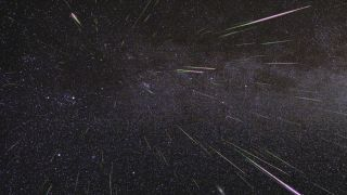 A time-lapse image of the Perseid meteor shower — the Beta Taurids will be much more difficult to see.