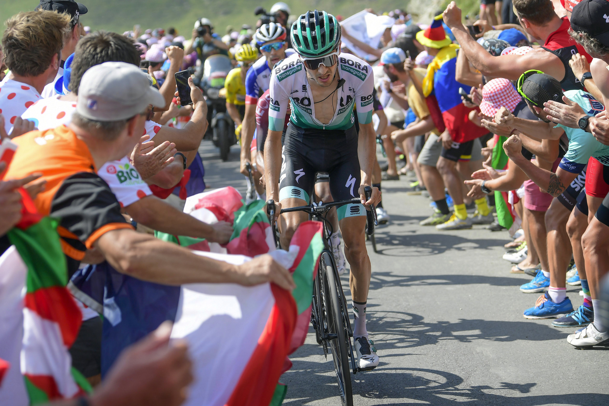 Bora-Hansgrohe's Emanuel Buchmann receives plenty of support on the Col du Tourmalet during stage 14 of the 2019 Tour de France