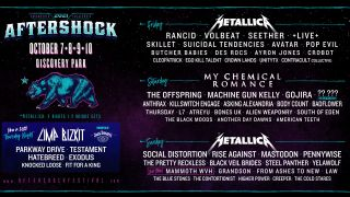 A poster for aftershock festival 2021