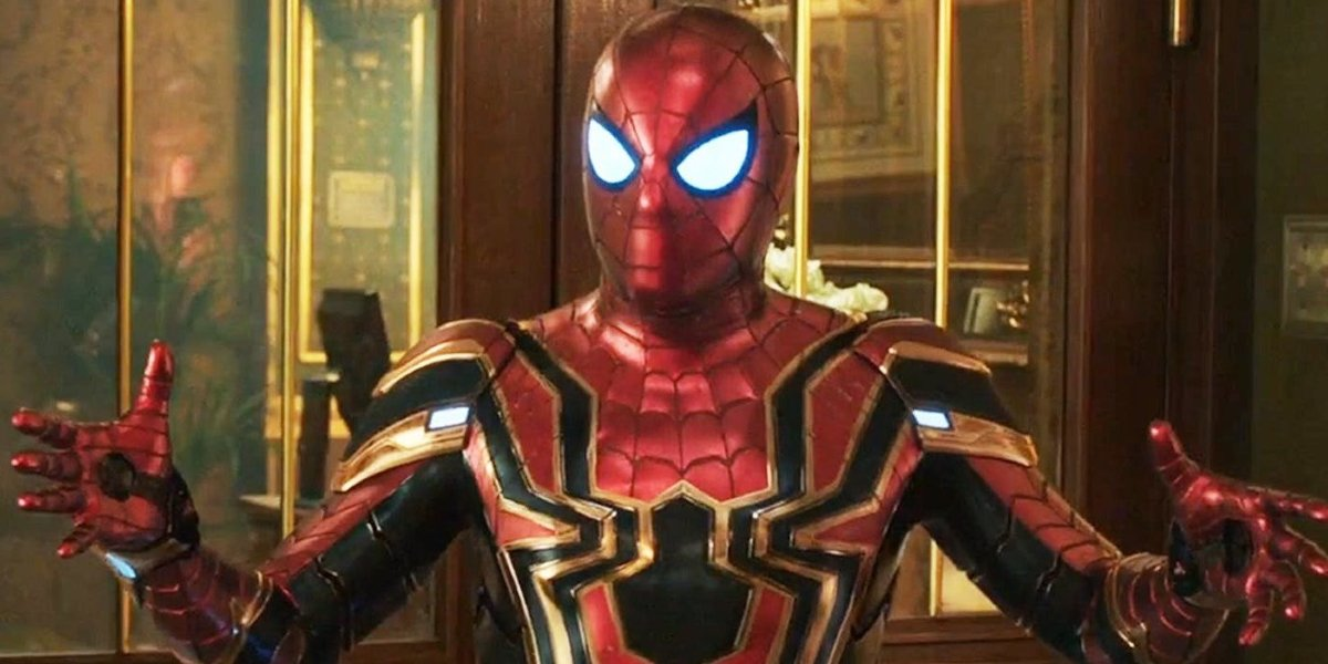 Peter Parker talking in the Iron Spider suit in Spider-Man: Far From Home.