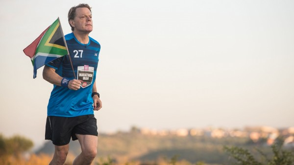 Eddie Izzard during marathon number ten in his gruelling Sport Relief challenge