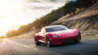 Tesla Roadster 2022 on the road