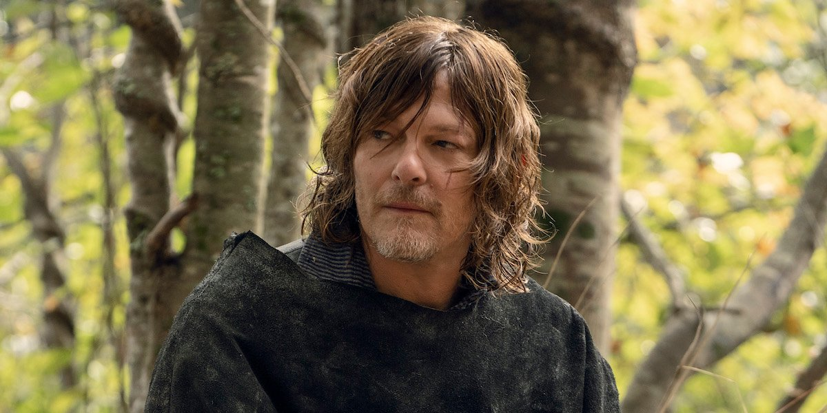 norman reedus as daryl in the woods on the walking dead