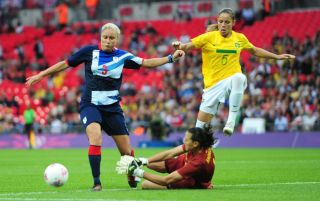 Steph Houghton in action for Team GB against Brazil at the 2012 Olympics