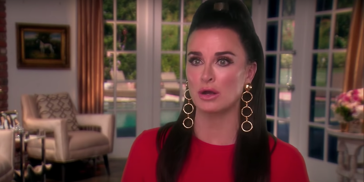 Kyle Richards doing a confessional for RHOBH