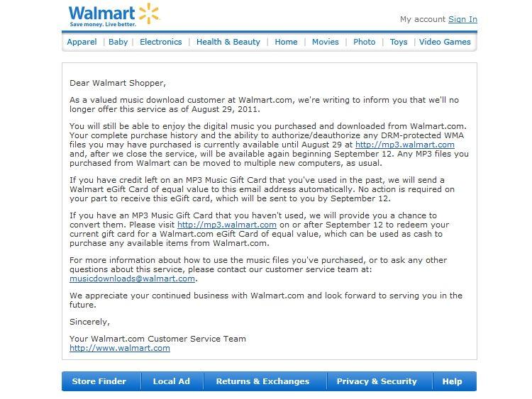 Walmart Killing Off MP3 Download Service | Tom's Guide