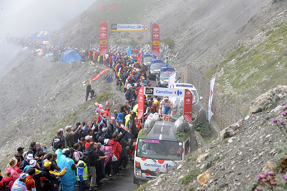 Caravan on Col du Tourmalet, Tour de France 2010 by Andy Jones