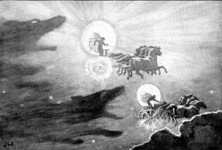 The wolves Skroll and Hati pursuing the sun and moon in Norse legend. An eclipse was said to occur if they got close enough to their prey.