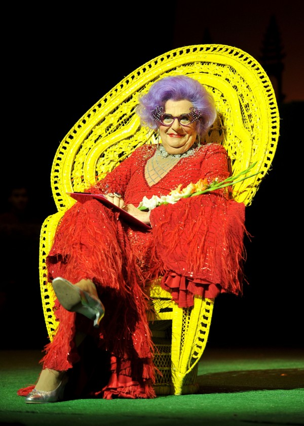 Comedian Barry Humphries in character as Dame Edna Everage