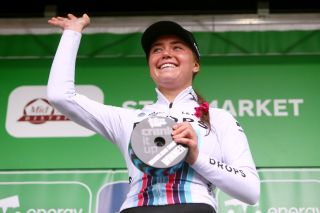 Abby-Mae Parkinson with the stage 1 combativity prize at the Ovo Energy Women's Tour
