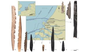The 10 barbed points from Doggerland and the places they were discovered in the Netherlands.