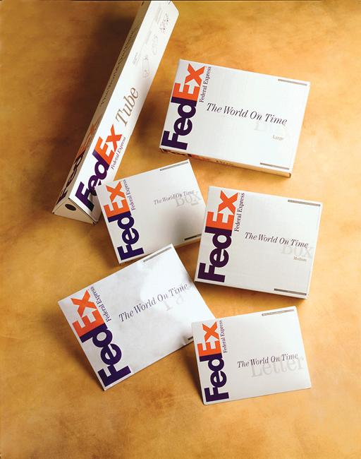 Various packaging displaying the FedEx logo