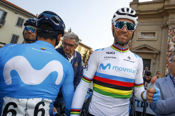 Alejandro Valverde about to race in his new kit for the first time