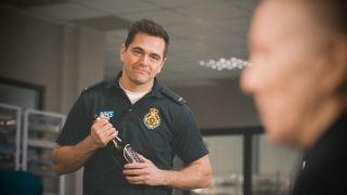 Iain Dean helps a couple celebrate their anniversary in Casualty