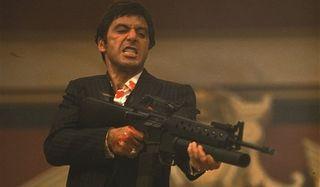 Scarface Al Pacino Tony Montana gunning down his enemies