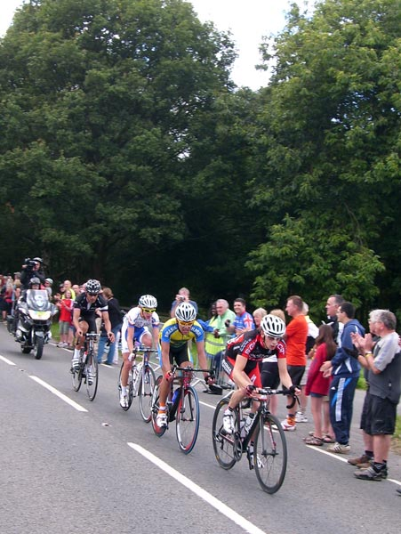Escape group after first ascent of Box Hill, London-Surrey Cycle Classic 2011