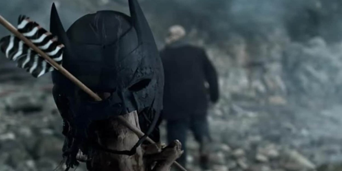 A glimpse of what seems to be Batman's cowl in Arrrow