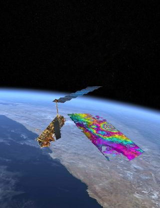 ENVISAT satellite collecting data of the spot of magma uplift over South America.