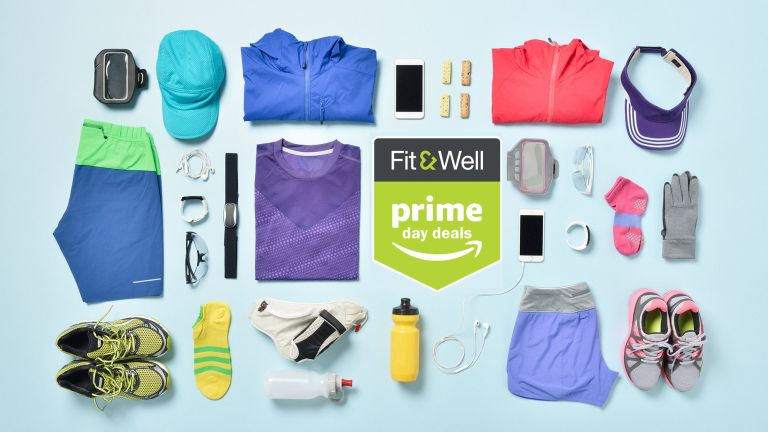 Flat-lay of workout clothes and equipment to illustrate some of the items on offer in the Amazon Prime Day fitness deals