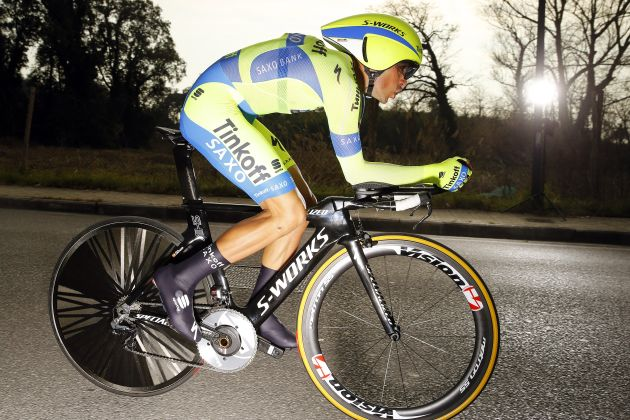 Alberto Contador in action during the Stage 1 Individual Time Trial of the 2015 Tirreno-Adriatico. Photo: Graham Watson