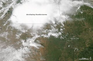 NASA's Aqua satellite acquired this image of a storm system approaching Kansas on May 30, 2012.