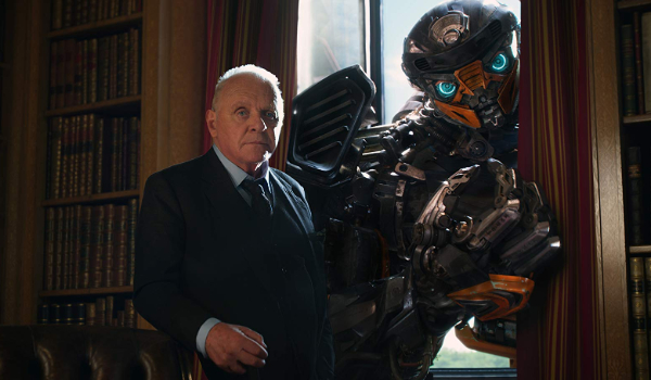 Transformers: The Last Knight Sir Edmund and Hot Rod standing by a window