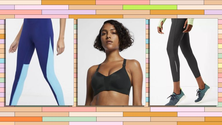 A selection of the best workout clothes is pictured in boxes ontop of a graphic coloured background, the images in the boxes are leggings from ASOS, a bra top from Nike and leggings from M&S