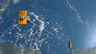 The Japanese Aerospace Exploration Agency will test an early space junk removal tether prototype using its HTV-6 robotic cargo ship, as seen in this artist's illustration. The cargo ship launched to the International Space Station in December 2016.