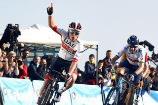 Tadej Pogacar (UAE Team Emirates) wins stage 2 of the 2020 Volta a la Comunitat Valenciana ahead of Movistar's Alejandro Valverde