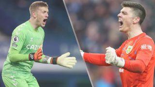 Everton vs Burnley live stream — Jordan Pickford of Everton and Nick Pope of Burnley