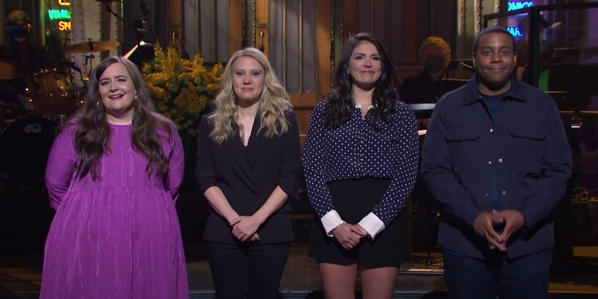 Aidy Bryant, Kate McKinnon, Cecily Strong, and Kenan Thompson on Saturday Night Live (2021)