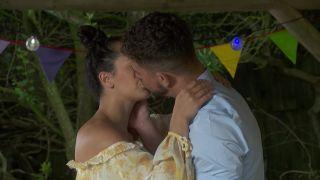 Cleo McQueen and Joel Dexter kiss in Hollyoaks