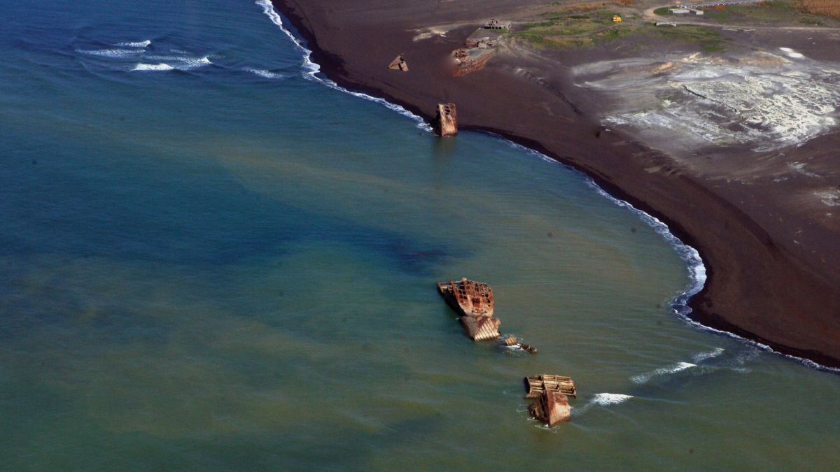 WWII 'ghost ships' rise from Pacific after volcanic eruption