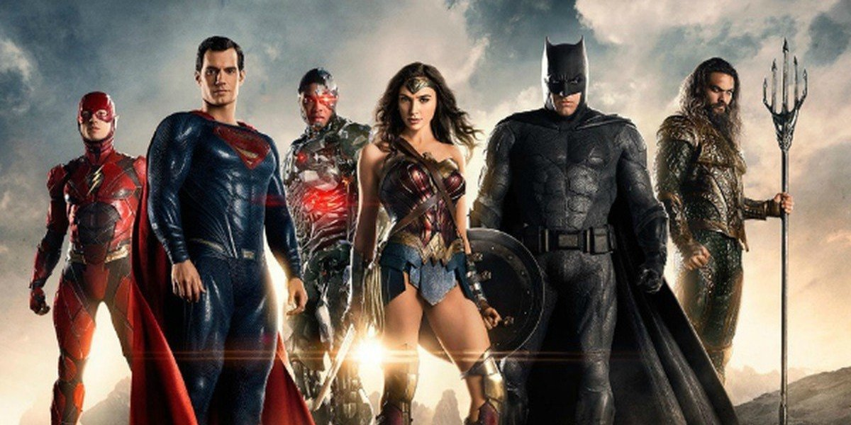 A promotional image for 'Justice League' shows The Flash, Superman, Cyclops, Wonder Woman, Batman and Aquaman standing and facing the camera.