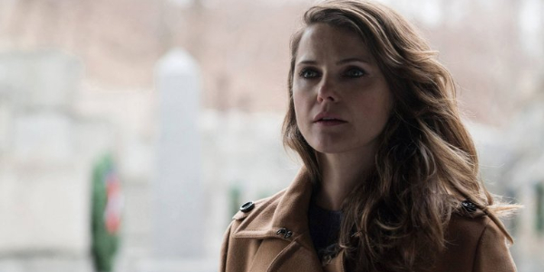The Americans Keri Russell standing in the open, ready to cry