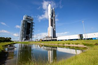 The Atlas V rocket launching the AEHF-5 satellite rolls to the launch site of Cape Canaveral Florida Air Force Station