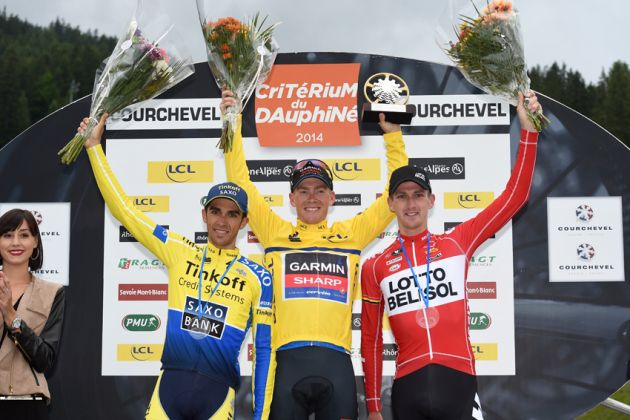 Alberto Contador, Andrew Talansky and Jurgen Van den Broeck after the final stage of of the 2014 Criterium du Dauphine