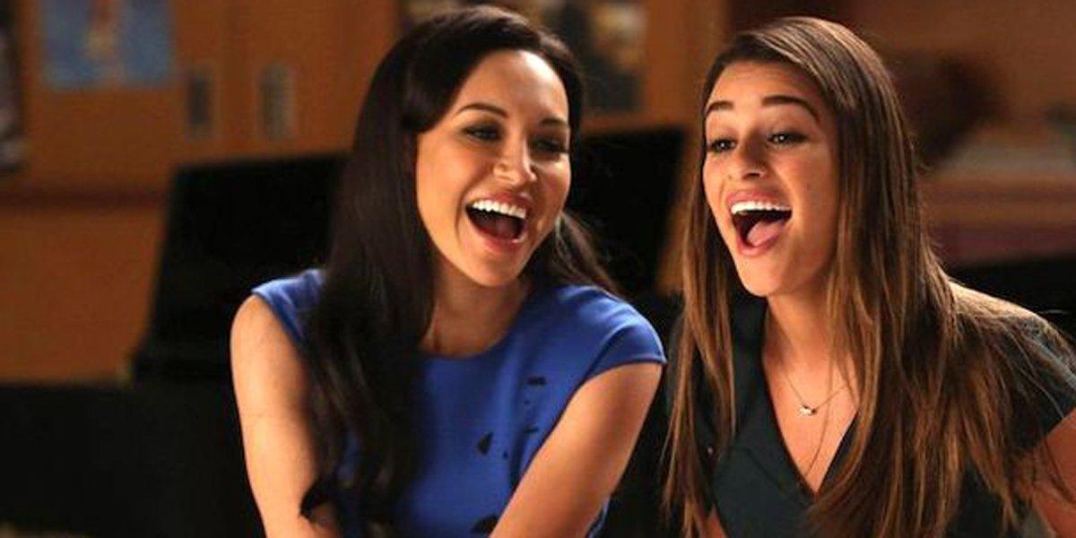 Naya Rivera's Santana and Lea Michele's Rachel singing together on Glee