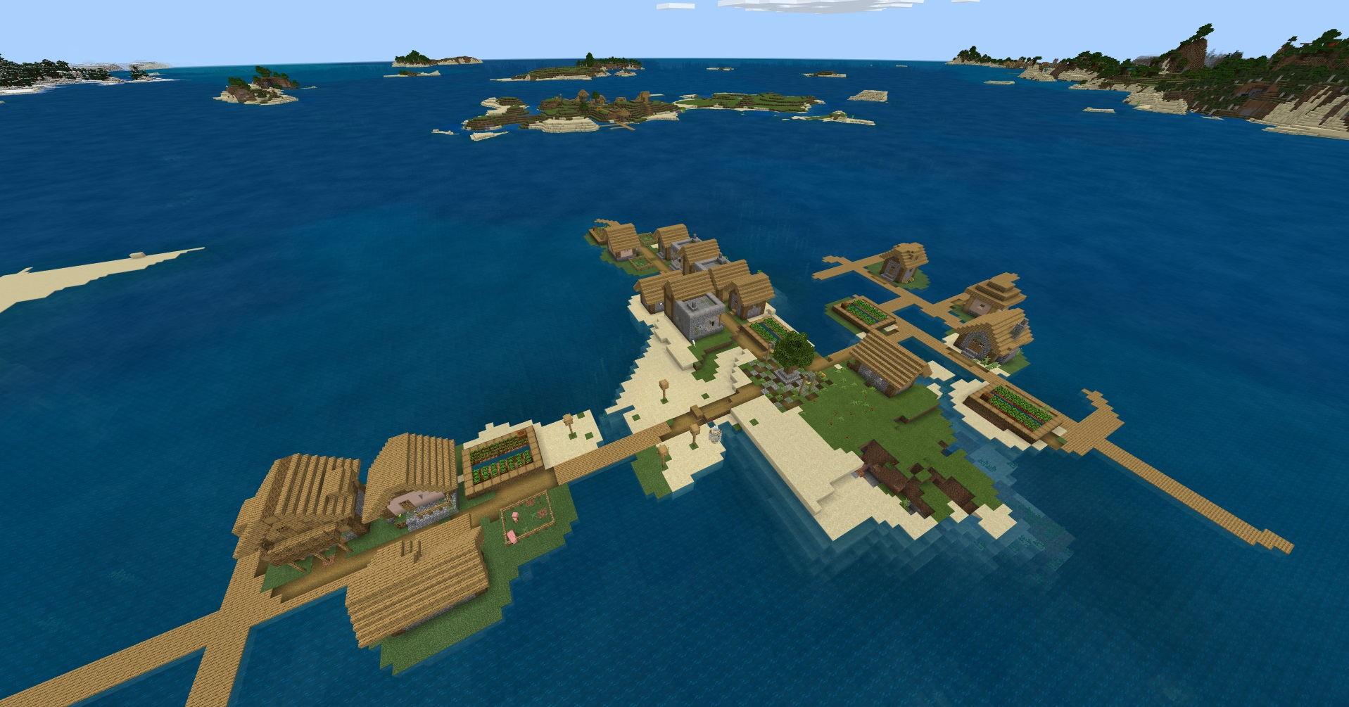 Minecraft bedrock seed - island village - A village on a very small island from a bird's eye view with another village on an adjacent island.