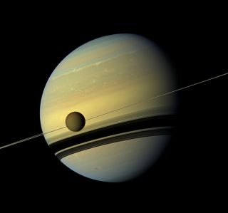A stunning view of Saturn, its rings and the planet's largest moon