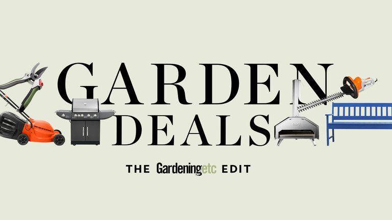 Garden deals graphic: Gardeningetc graphic on green background