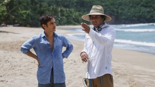 M. Night Shyamalan directs Gael Garcia Bernal on the set of Old