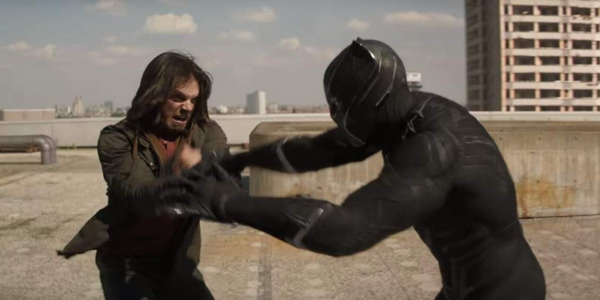 Bucky Barnes (Sebastian Stan) and Black Panther (Chadwick Boseman) fight in Captain America: Civil War (2016)