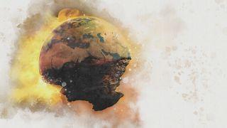 Illustration of the end of Earth, doomsday, destruction.