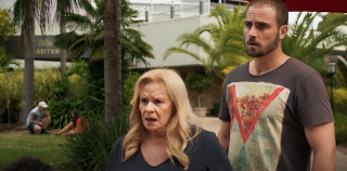 Neighbours Levi Canning shocks Sheila Canning and Kyle Canning.