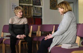 Shirley Carter confides in Rev Irene Mills in Eastenders.