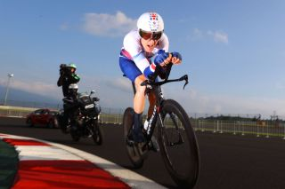 OYAMA JAPAN JULY 28 Geraint Thomas of Team Great Britain rides during the Mens Individual time trial on day five of the Tokyo 2020 Olympic Games at Fuji International Speedway on July 28 2021 in Oyama Shizuoka Japan Photo by Tim de WaeleGetty Images